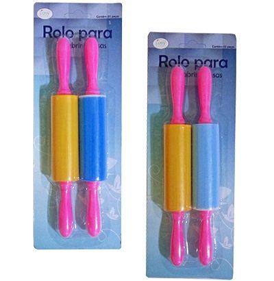 Rolo colorido para abrir massas - 2 peças