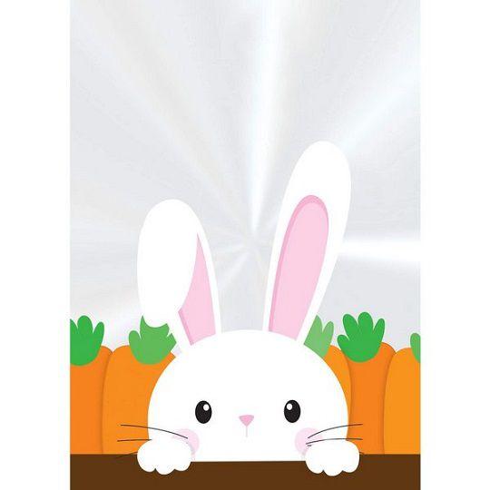 Saquinho plástico transparente - coelho e cenoura (50 un)