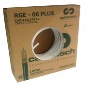 CABO COAXIAL RGE 06 90% DE MALHA 75 OHMS Caixa 100 mts