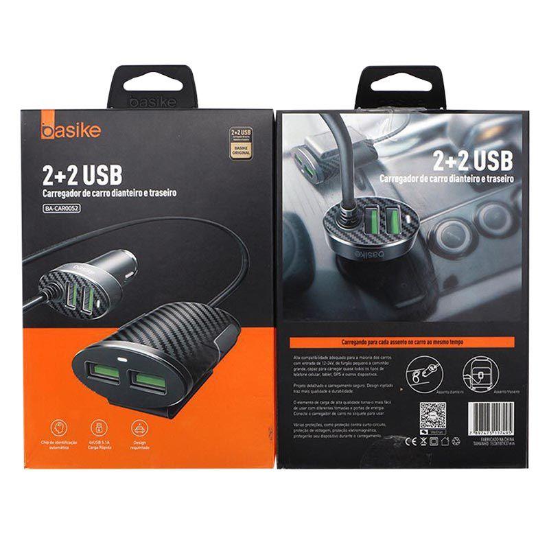 Carregador Veicular Basike 2+2 Usb - CAR0052