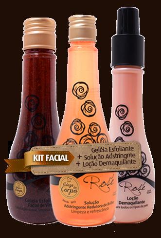 KIT FACIAL - Geléia Esfoliante Facial de Vinho + Solução Adstringente Redutora de Brilho + Loção Demaquilante