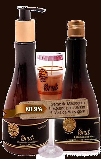KIT SPA - Linha Brut - Creme de Massagem + Espuma para Banho + Vela de Massagem