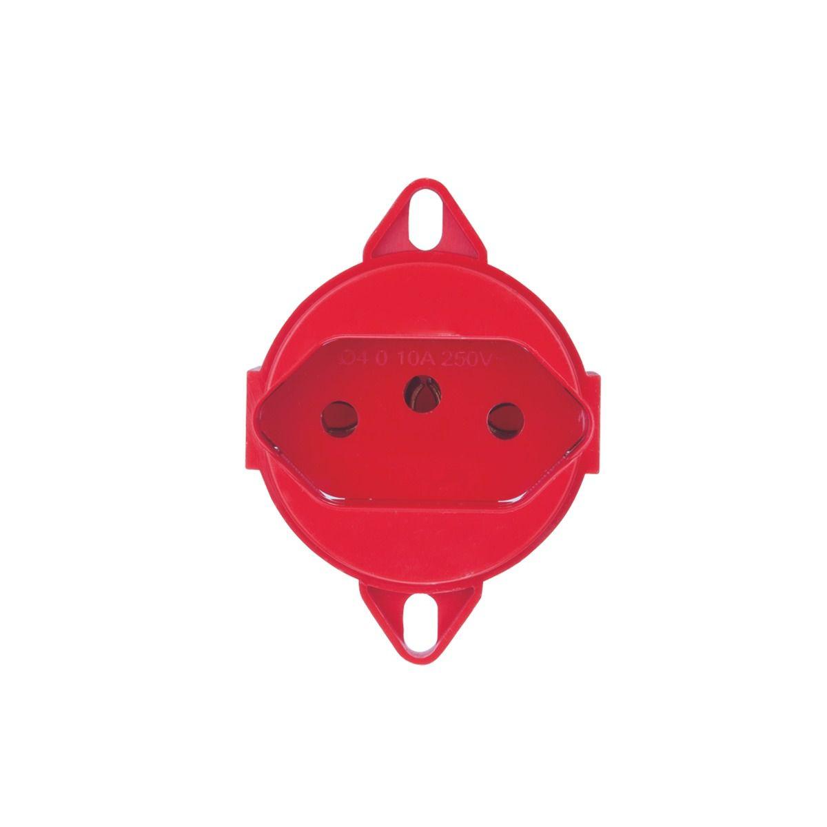 Tomada 2P+T 20A 250V - Vermelho