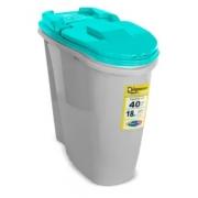 PLAST PET DISPENSER HOME 40L/18KG AZUL TIFANY C/ CANECA DOSADORA
