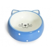 POWER PETS COMEDOURO DE PORCELANA FACE CAT AZUL