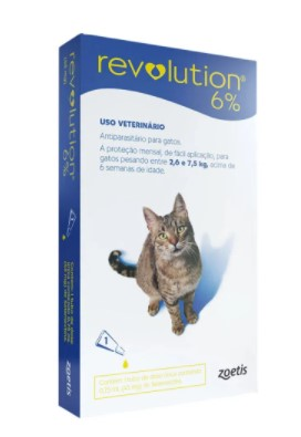 ANTIPULGAS ZOETIS REVOLUTION GATO 2,6KG / 7,5KG - 45MG - 6% 0,75ML C/1 UN