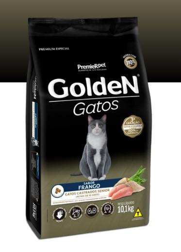 RAÇÃO GOLDEN GATO ADULTO CASTRADO SÊNIOR FRANGO 10,1 KG
