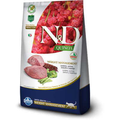 RAÇÃO N&D GATO ADULTO QUINOA WEIGHT MANEGEMENT CORDEIRO 7,5KG