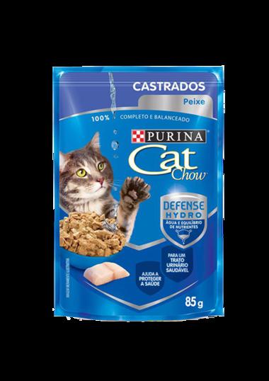 RAÇÃO ÚMIDA CAT CHOW ADULTO CASTRADO PEIXE AO MOLHO 85G SACHÊ