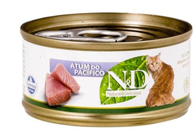 RAÇÃO ÚMIDA N&D GATO ADULTO ATUM DO PACIFICO LATA 70G