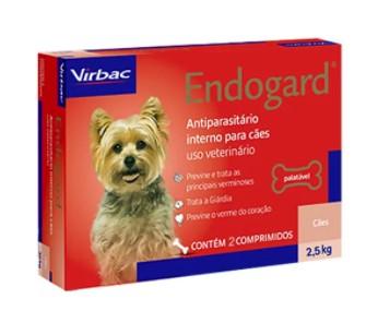 VERMÍFUGO VIRBAC ENDOGARD CÃO 2,5KG C/ 2 COMP