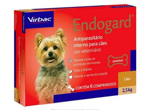 VERMÍFUGO VIRBAC ENDOGARD CÃO 2,5KG C/ 6 COMP