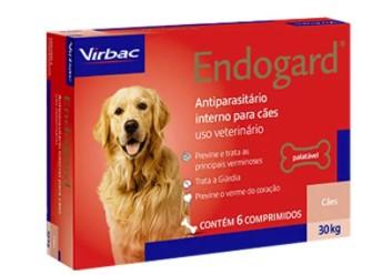 VERMÍFUGO VIRBAC ENDOGARD CÃO 30KG C/ 6 COMP