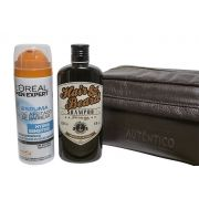 Kit Shampoo Sailor Jack + Espuma de Barbear L´OREAL + Necessarie de Couro
