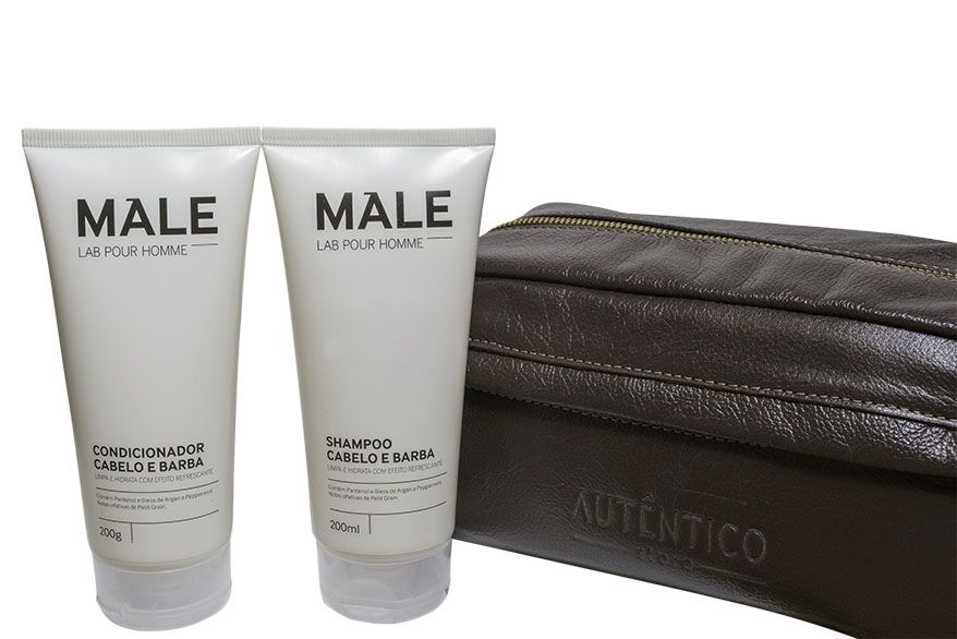 Kit Shampoo e Condicionador Male + Necessarie de Couro