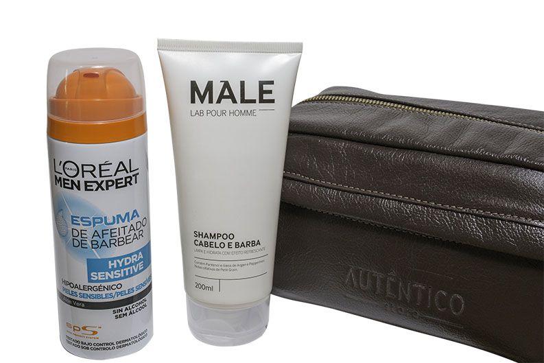 Kit Shampoo Male e Espuma de Barbear L´OREAL + Necessarie de Couro