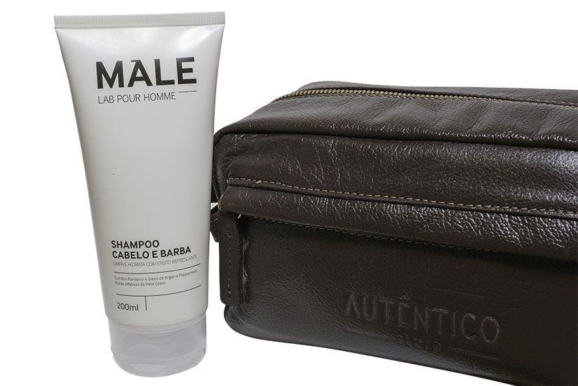 Kit Shampoo Cabelo e Barba Male + Necessarie de Couro