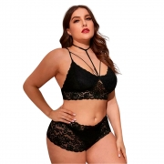 Kit com 3 Calcinhas de Renda Plus Size