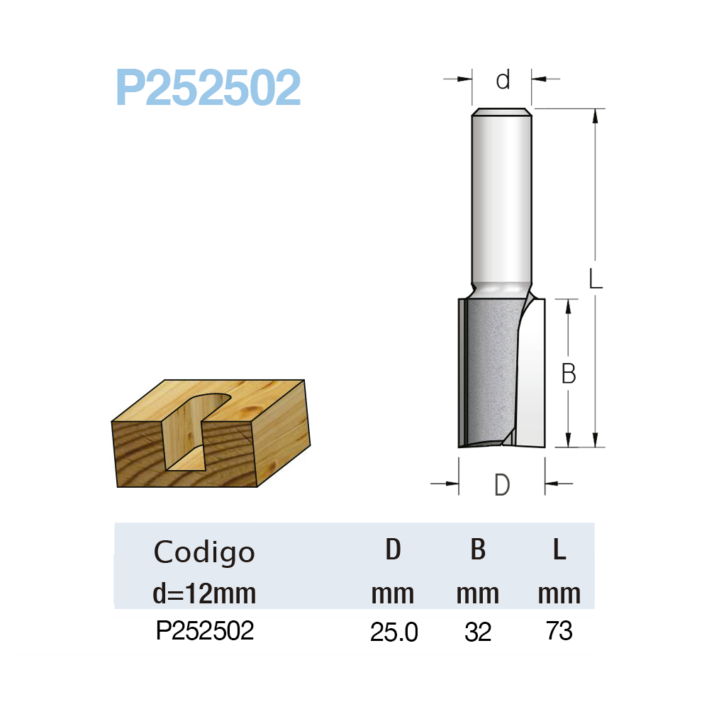 WPW - FRESA RETA 25MM X 32MM - H12/73