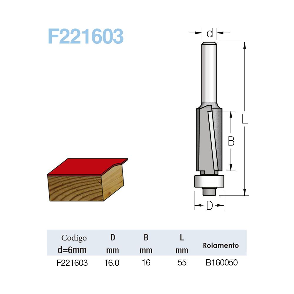 WPW - FRESA RETA COM ROLAMENTO CORTE DESCENDENTE - 16MM X 16MM- H6/55