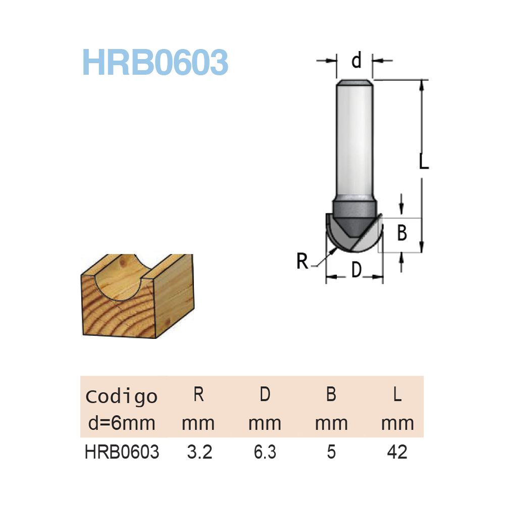 WPW - FRESA MEIA CANA R3,2  6,3MM X 5MM -H6/42
