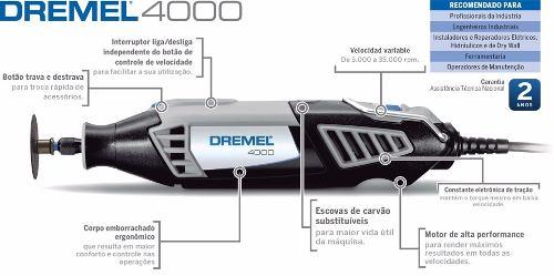 Micro Retífica Dremel 4000 C/39 Acessórios+maleta 110v