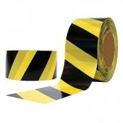 Fita Zebrada Preto e Amarelo 100mt Plastcor