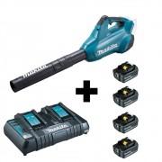 Soprador a Bateria 18V + 18V Makita C/ Carregador e 4 Baterias
