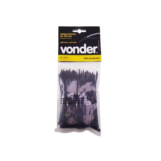 Abraçadeiras De Nylon 100 Un. 100 x 2,5 mm Preta – Vonder