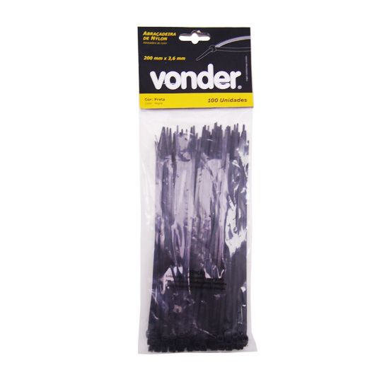 Abraçadeiras De Nylon 100 Un. 200 x 3,6 mm Preta – Vonder