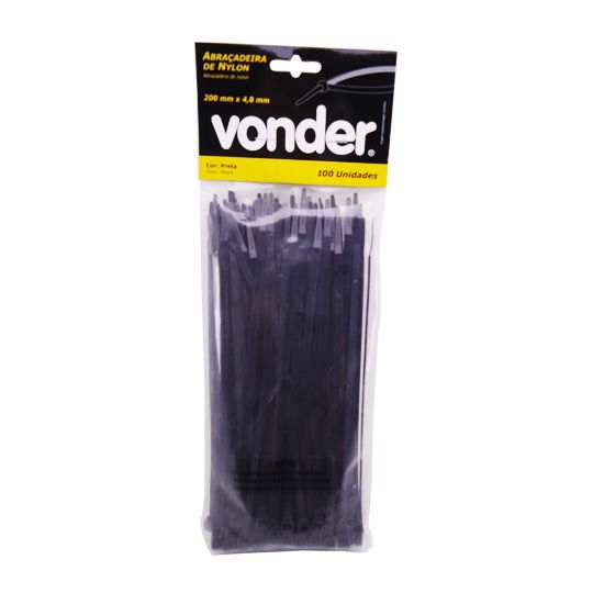 Abraçadeiras De Nylon 100 Un. 200 x 4,8 mm Preta – Vonder