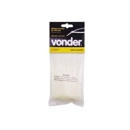 Abraçadeiras De Nylon 100 Unidades 100x2,5mm Branca -  Vonder
