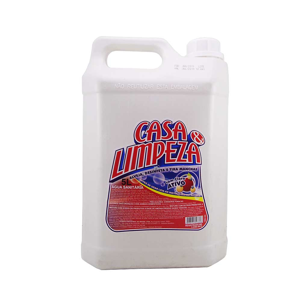 Agua Sanitária 5 Lts Casa e Limpeza