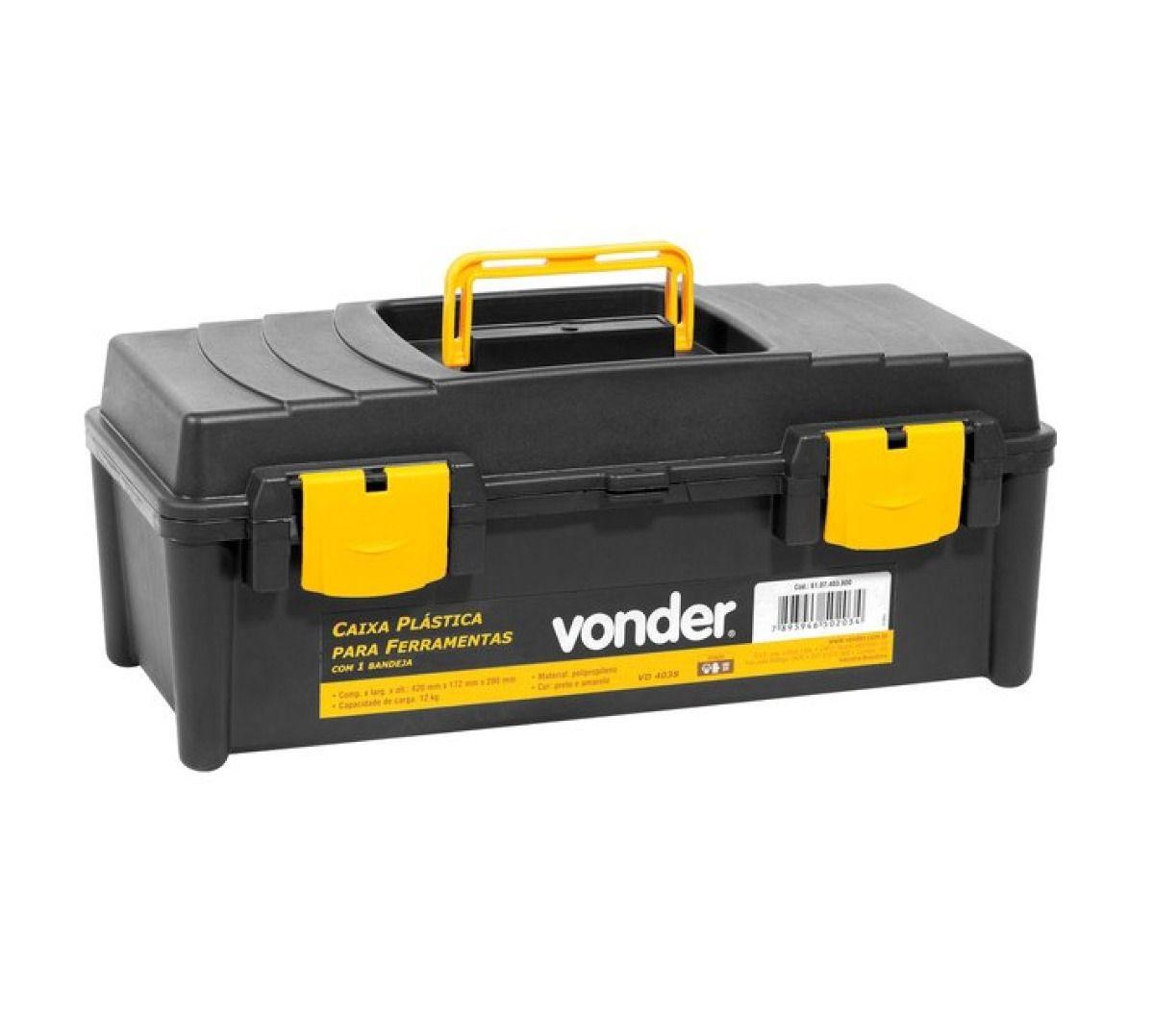 Caixa Plástica Vd 4038, Com 1 Bandeja, Vonder