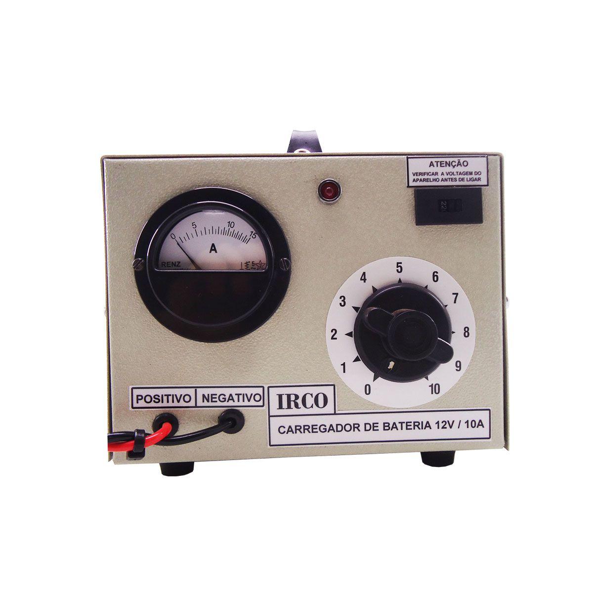 Carregador de Bateria 12V / 10A Irco com Chave 110/220V