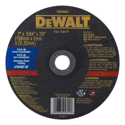 """Disco de corte para inox 7"""" x 5/64"""" X 7/8"""" - DW44801"""