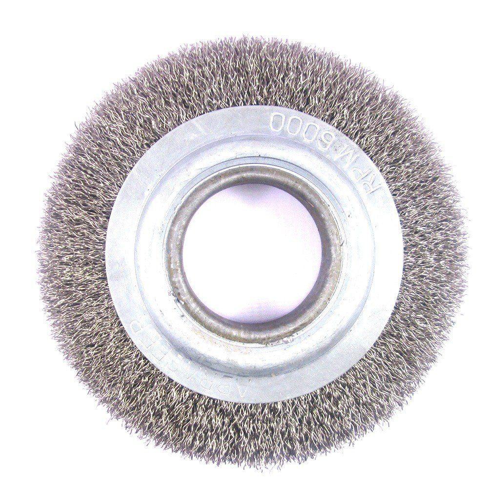 Escova Circular Aço Carbono Ondulado 6 X 3/4 X 1/2 Pol - Abrasfer