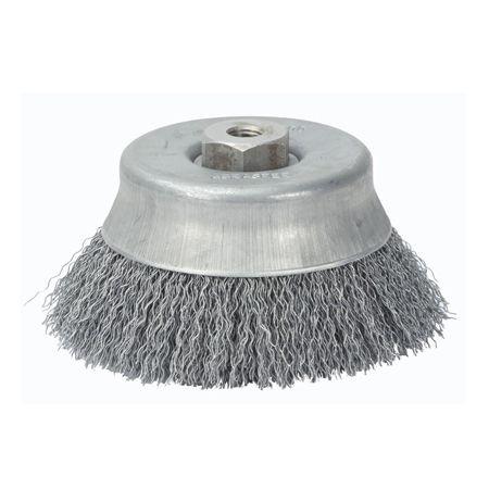 Escova De Aço Copo Ondulada 6'' Rosca 14 mm Abrasfer