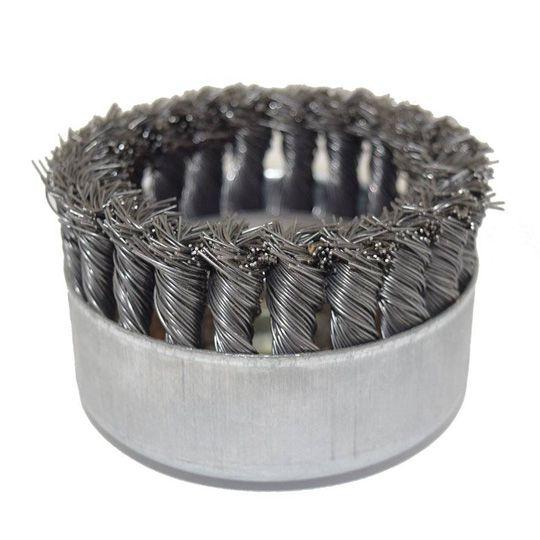 """Escova de Aço Tipo Copo Trançada 4"""", Rosca 14 mm – Abrasfer"""