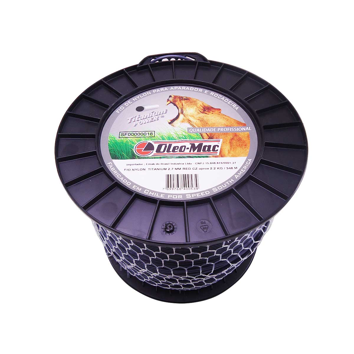 Fio Nylon Titanium P/ Aparador 2,7mm Redondo 348m Oleo-Mac