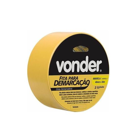 Fita Demarcação PVC Amarela 48mm x 30m - Vonder