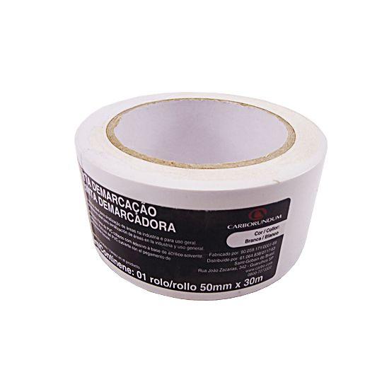 Fita Demarcação PVC Branca 50mm x 30m - Carborundum