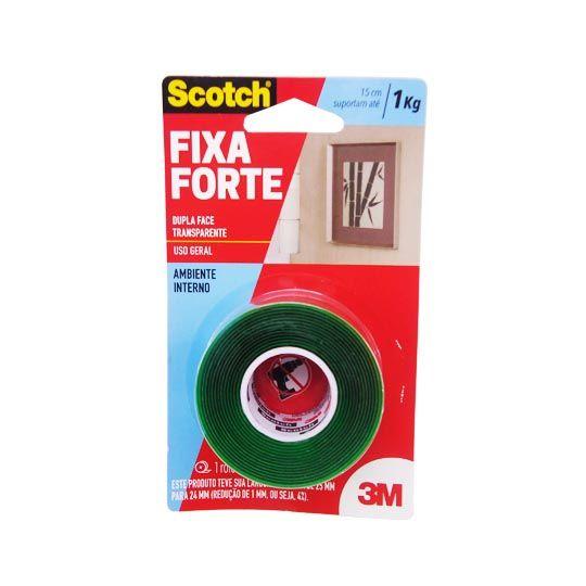 Fita Dupla Face Incolor Fixa Forte 24mm x 2m 3M