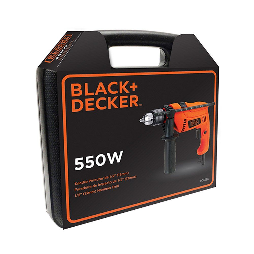 Furadeira De Impacto 1/2 Hd555 550w 110v + Kit Brocas e maleta - Black & Decker