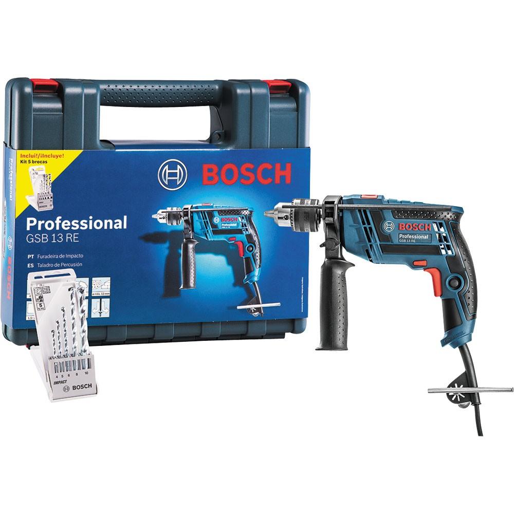 Furadeira Impacto 1/2 650W GSB 13 RE + KIT Brocas - Bosch 110V
