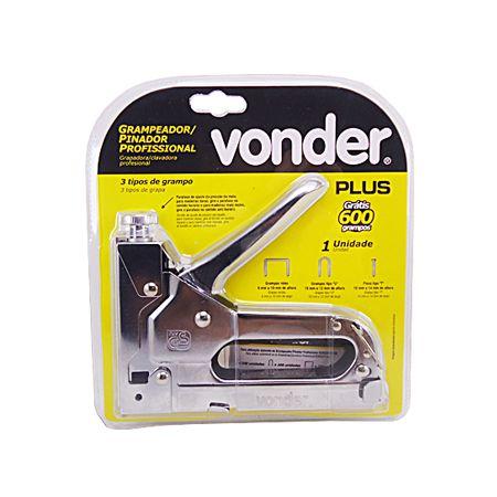 Grampeador Pinador Profissional Vonder Plus Cromado