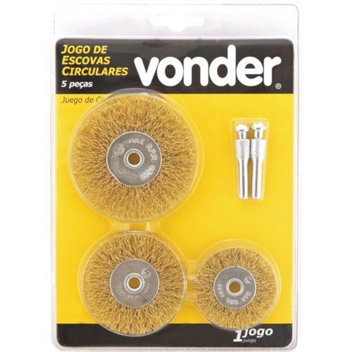 Jogo de Escovas Circulares de Aço Latonados Vonder