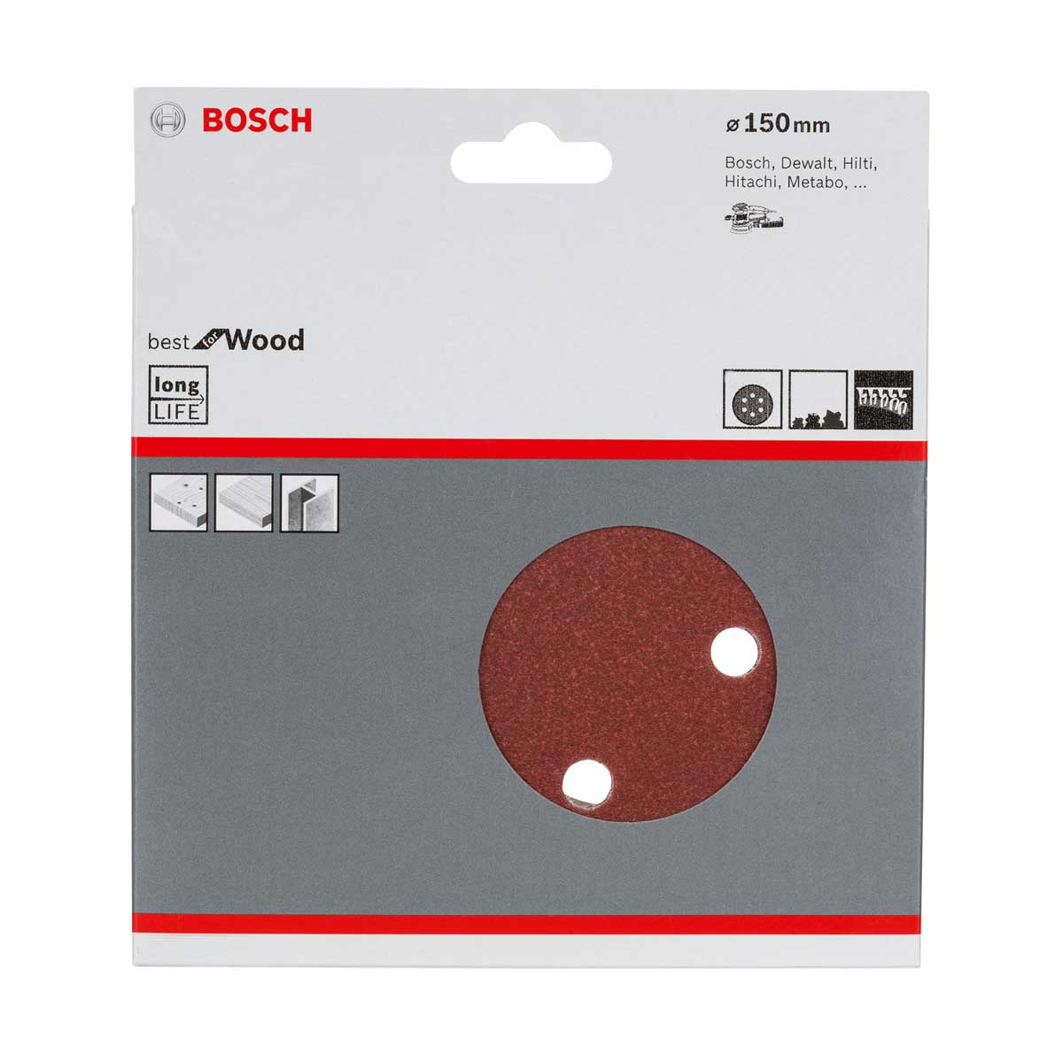 Jogo de Lixa C/ 6 Unidades 7 Pol. Bosch 150mm 2608605102