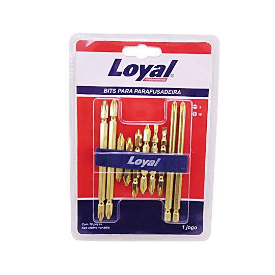 Jogo de Pontas para Parafusadeira c/ 10 Peças Douradas LOYAL-08305001