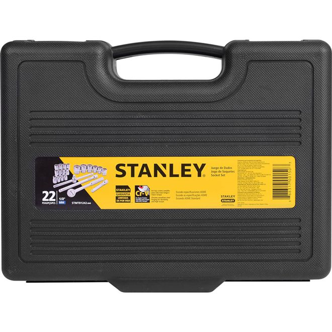 Jogo de Soquete Estriado 8 a 32mm 1/2 Pol.C/22 Peças - Stanley